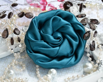 "Teal Large Satin Roses - 3"" Large Satin Rolled Flowers - Wholesale Lot - Satin Rolled Rosettes - Fabric Flowers Wholesale"