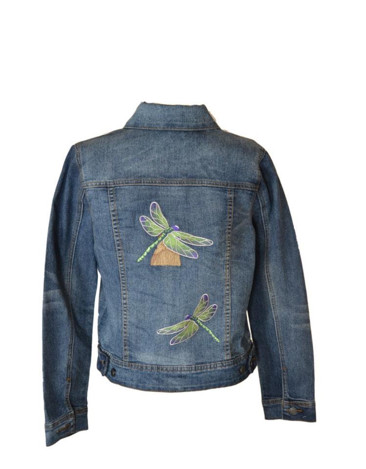 Dragonfly embroidered denim jacket blue