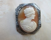 Vintage Deco Carved Shell Cameo, Cameo For Project, 1920s Cameo, Estate Jewelry, Deco Cameos, Vintage jewelry, Flapper  Cameo, Reperpous
