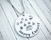Happy Camper, Hand Stamped Jewelry, Custom Jewelry, Camping Jewelry, Vintage Camper, RV Camper, Nature Lover, Outdoors Girl, Aluminum Charm