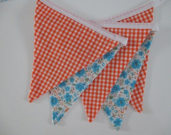the angie - orange check, blue & orange floral fabric banner bunting