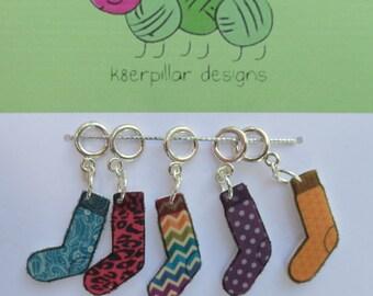 Odd Socks Grab Bag! - Snagless Stitch Markers - 5 piece assortment