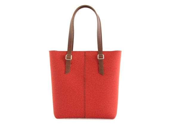 Felt TOTE BAG / leather straps / orange / felt women's bag / 100% wool felt / made in Italy
