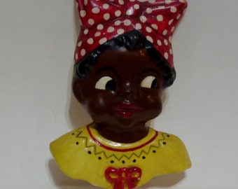 Black Americana  chalkware key holder