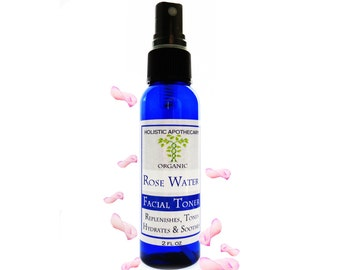 Organic ROSEWATER  Facial Toner Spray Mist Regenerating, Hydrates, and Refines Pores.  Promotes a Youthful Complexion.  Great Setting Spray.