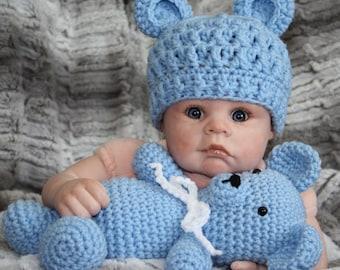 Bear stuffy and hat, newborn bear set, teddy hat, baby bear hat, bear hat and stuffy set, bear bonnet, gender reveal