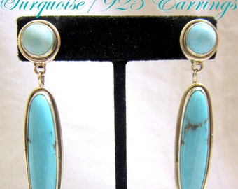 """Navajo """"Burt Fransisco"""" Timeless~Classic~Contemporary~Turquoise 925 Dangle Earrings"""