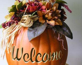 Fall Centerpiece Orange Welcome Carved Pumpkin