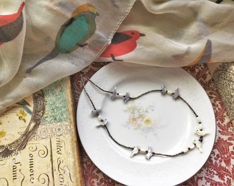 Vintage Mother of Pearl Bird Charm Bead Choker Necklace, Unique Design, Cute Little Birds