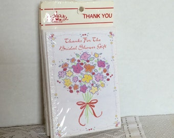 Vintage Bridal Shower Thank You Cards and Envelopes / New Old Stock