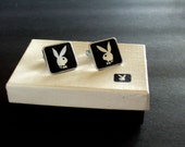 Rare Collectible Playboy Bunny Cufflinks in Original Box Fabulous Men's Jewelry Gift Ideas Great Christmas Gifts for Him Black Cufflinks