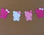 Bear garland, baby shower garland, teddy bear garland, paper garland, pink and white bear garland