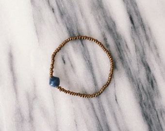 Navy Single Bead Bracelet