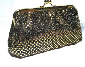 Black Metallic Clutch with Gold Sequins  9x5x2.5