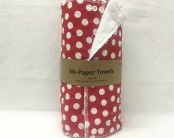 Unpaper towels, reusable paper towels, cloth paper towels, snapping paper towels - Red and White Polka Dot
