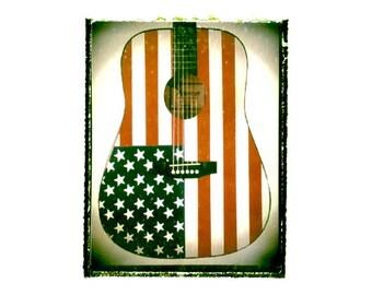 American Flag Acoustic guitar art print / music gift / rock n roll art / music room decor / guitar gift / man cave art