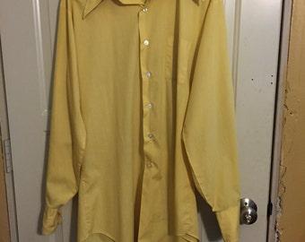 vintage Gino Big & Tall yellow shirt long sleeve tall 17 38 Sanforized