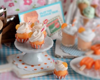 Miniature Orange Creamsicle Cupcakes