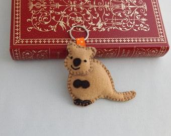 Quokka Keychain, Quokka Felt Key ring, Bag Charm, Zipper Pull, Stocking Stuffer