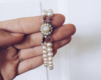 SALE Danish Vintage Pearl bracelet  Arm wrist band