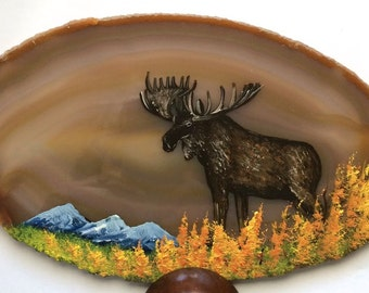 Hand Painted Brazilian Agate Fall Moose
