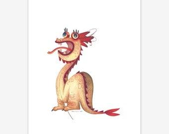 Dragon Mythical Creature Print A5