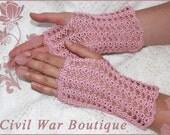 1800's Civil War Victorian Bridal Dusty Rose Pink Handmade gloves PEARLS 100% cotton NEW