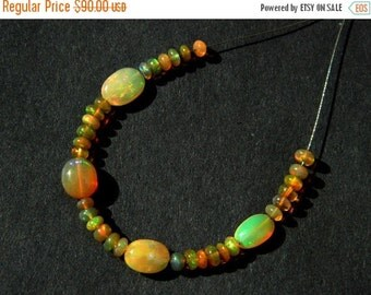"20%off. 4"" Strand-Natural Honey Welo Ethiopian Opal Smooth Polished - Fire Opal Beads, Best Quality- Extreme Insane Fire."