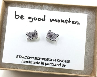 Cat Earrings  - Studs -  Shrinky Dink - Shrink Plastic