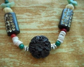 SALE - Necklace, Mexican Inspired, Red, Green, Fetishes, Birds, Rustic, Carved Wood, Rustic, Heishi, Copper, Stones, Flowers