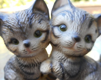 Ceramic, Kittens, H. Knox, Japan, Vintage, Grey Striped, Cats, Kitsch, 1960s, Collectible