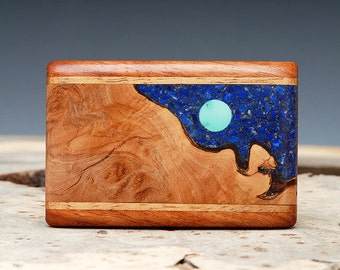Exotic Wood, Lapis and Turquoise Inlaid Belt Buckle - Handmade