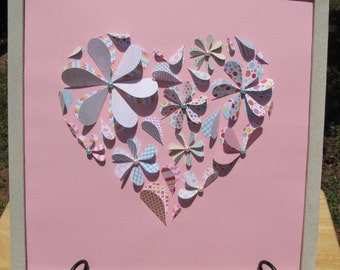 12x12 3D Heart Flowers in Multi-Colored Cardstock on a Pale Pink Background with Pink and Turquoise Beads