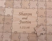 30-50 Large (2 inch) pieces CUSTOM  Wedding Guest Book Puzzle with Heart Tabs