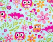 Owl hot pink Fabric 100% Cotton Quilting Sewing