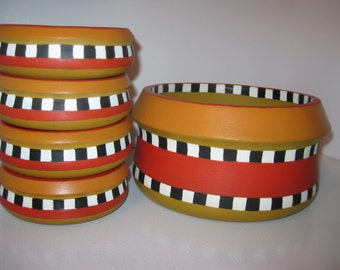 Handpainted vintage wooden bowls, hostess set of 5