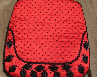 Vintage Red Satin Clutch Purse with Black Beading, Snap Clasp Closure
