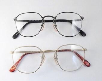 Round Eyeglasses, Square Eyeglasses, Matte Gold Womens Eyeglasses, Vintage Dark Silver Gray Frames, Womens Eyeglasses