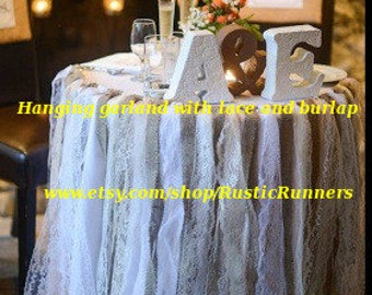 Rustic Charm Barn Wedding Burlap and Lace Garlands, Swag, Rag Tie, Sweetheart table Shabby Chic hanging wedding decoration, table decoration