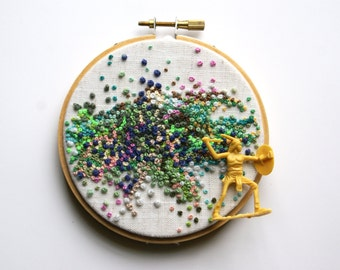 Embroidery Hoop Art, WARRIOR SPIRIT, Vintage Toy Art, Colorful French Knot Wall Decor, Yellow, Pink, Green, Cream, Peach, Blue