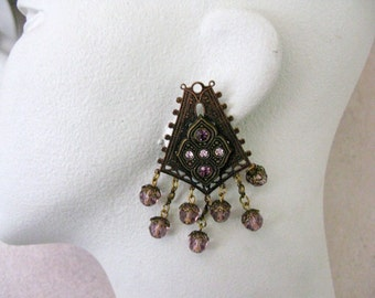 1980's Banana Bob Clip Earrings With Amethyst Glass Crystals