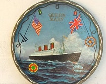 SALE Vintage Souvenir, Queen Mary Tin Tray, Souvenir, Ocean Liner Ship, Cunard Line Ship, Wall Decor, Ocean Decor, Beach Decor, Barware