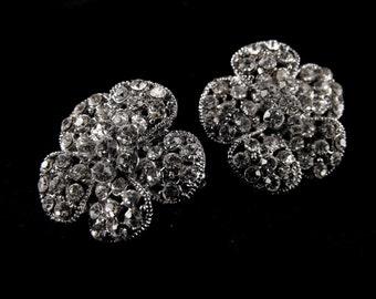 Rhinestone Flower Pins Clear Rhinestone Silver Tone Beauties One Pair Vintage Scatter Pins