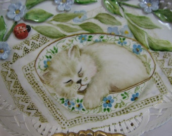 Kitten and Lady Bugs in a Porcelain candy dish