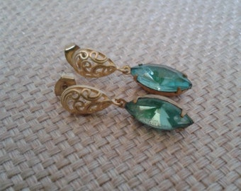 Bridal Line, Victorian, Birthstone, Turquoise Rhinestone Dangle Post Earring with Gold Filigree Post Jewelry