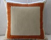 Handmade Cream Linen Pillow with Samuel & Sons Tape Trim Border Framed on Face Side
