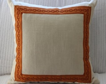 Handmade Cream Linen Pillow with Samuel & Sons Tape Trim Border Framed on Face Side