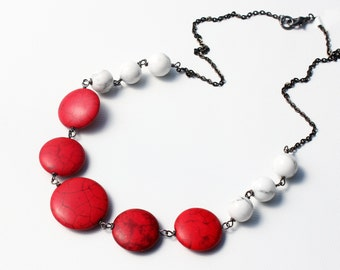 Red White Howlite Necklace, wire wrapped natural stone, bright and stylish, statement necklace, gunmetal, artisan, gift for her, 3345