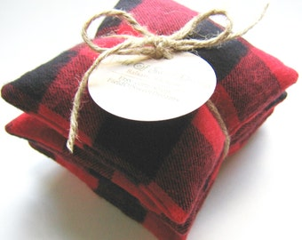Moth Repellent Sachets with Organic Cedar and Clove made with Buffalo Check Flannel Closet Sachets