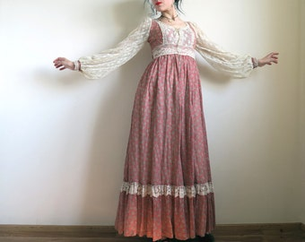 1970's GUNNE SAX Prairie Dress by Jessica McClintock, Red Floral Voile Maxi, Sheer Mesh Lace Poet Sleeves, Corset Bodice, Extra Small 7 S/XS